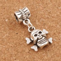 Wholesale Metal Skeleton Jewelry - Skull Skeleton Big Hole Beads 100pcs lot 25.1x12.9mm Antique Silver Dangle Fit European Charm Bracelets Jewelry DIY B975