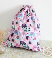 12XUnisex Canvas Drawstring Backpack Elephant / Owl Travel String Sacs Sac à dos