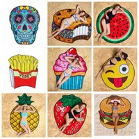 Wholesale Bath Shower Towel - Bath Towels Round Beach Towel Beach Shawl Picnic 11 Designs Pizza Hamburger Skull Emoji Printed Tablecloth Shower Bath Towels Blanket Mat Bl