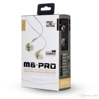Wholesale Headphone Pro White - MEE Audio M6 PRO Noise Canceling 3.5mm HiFi In-Ear Monitors Earphones with Detachable Cables Sports Wired Headphones earbuds mic