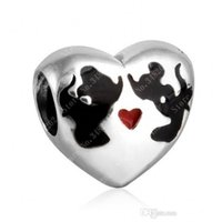 Wholesale Mouse Love - 2017 New Authentic 925 Sterling Silver Cartoon Mouse Kiss Heart Beads With Enamel Fine Jewelry For Women Fits Pandora Bracelets DIY Making