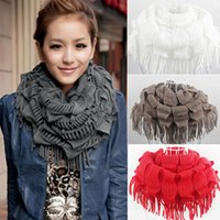 Atacado-Moda New Womens Winter Warm Knitted Layered Fringe Tassel Neck Circle Shawl Snood Scarf Cowl Free SHipping