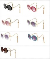 Wholesale Tassel Sunglasses - 2017 New Arrival Round Frame Sunglasses for Women Fashion Sun Glass with Tassel sunglasses lantern glasses twill Eyewear Glasses