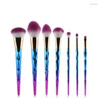Wholesale Wholesale Colorful Synthetic Hair - 7pcs set Makeup Brushes Set Lip Eyeshadow Eyebrow Powder Highlighter Blush Cosmetic Blending Colorful Soft Synthetic Hair Make Up Brushes