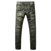 Wholesale Army Pants Medium Regular Vintage - Men's fashion vintage moustache effect biker jeans for moto Casual big size stretch denim pants Long trousers