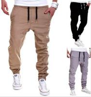 Wholesale Harem Pants Dark Red - 2018 NEW men sport hip hop pants drawstring joggers mens casual striped jogging harem pants trousers pantalon homme M-4XL 6colors joggers