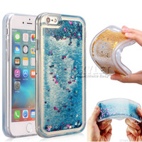 Wholesale Note Glitter Cases - For Iphone 8 Water Glitter Cases Quicksand Gel Case For Samsung Note 8 S8 3D Liquid Case Soft TPU Floating Glitter Star Case With OPP Bag
