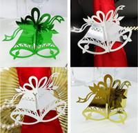 Wholesale Papers Napkin Serviettes - Wholesale- 240pcs Paper Bells Napkin Ring Serviette Buckle Holder For Wedding Party Christmas Banquet Dinner Decoration Favor
