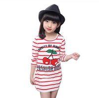 Wholesale Cherry T Shirt - 017 Spring Autumn Girls Stripe Long Tops Cherry Printed T-shirt Baby Kids Long Sleeve Children Clothes Girls Clothing Tees