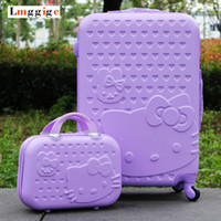 Wholesale children luggage - Purple Hello Kitty Hardside Luggage,Children&Women KT Rolling Suitcase,ABS Lovely Cartoon Travel Box,Universal wheel Carry-Ons