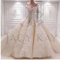 Wholesale Gorgeous Wedding Ball Gowns - 2017 Gorgeous Lace Applique Bead Ball Gown Luxury Wedding Dresses Off-Shoulder Chapel Train Long Bridal Gowns NO Sleeve Vestidos Exquisite