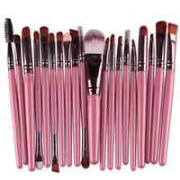 Wholesale Brushed Metal - Professional 20pcs Makeup Brushes Set Cosmetic Face Eyeshadow Brushes Tools Makeup Kit Eyebrow Lip Brush Fast DHL shipping
