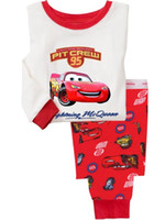 Wholesale Pyjama Boys Cars - Free shipping Cotton cartoon Kids Red car Pajama Sets Clothes boys Long sleeves sleepwear pyjamas O5