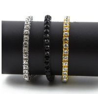 Wholesale Silver Box Chain Bracelet - 2017 AAAAA Iced Out Rhinestone Silver Bracelet Hip Hop Bling Cuban Link Chain Hip Hop Bracelet Chunky Jewelry with Gift Box