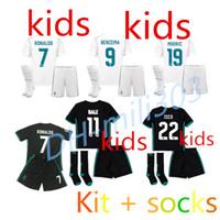 Wholesale Best Boys - Best quality 2017 2018 Real Madrid Kids soccer Jerseys kits +Socks 17 18 RONALDO SERGIO RAMOS BALE RAMOS ISCO MODRIC Benzema football shirts