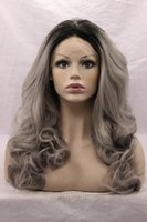 Wholesale Sexy Gray Wigs - Two Tones Synthetic Lace Front Gray Silver Ombre Half Hand Tied Sexy Wavy Wigs Dark Roots 3Inch Heat Resistant Fiber Hair 150%