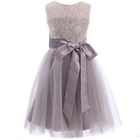 Princesa Long Gray Flower Girl Dresses 2017 Nueva Tulle Kid piso de longitud de la fiesta de la boda de la dama de seda Drapeado Arcos Hollow formal imagen real