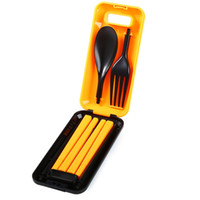 Wholesale Mini Plastic Spoon - Wholesale-Hot Outdoor Camping Portable Picnic Mini Tableware Plastic Cutlery Chopsticks Spoon Fork 3pcs Travel Kit