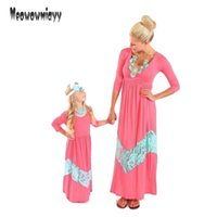 Wholesale Matching Dress Clothes - Family clothing dress mother and daughter matching clothes 2017 three quarter cotton patchwork lace mommy and me summer dress