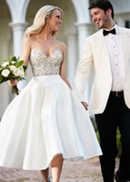 Wholesale Cheap Tea Length Bridal Dresses - Stunning 2017 Satin A-Line Embroidery Crystal Wedding Dresses Sweetheart Neck Zipper Back Tea Length Wedding Dress Bridal Gowns Cheap