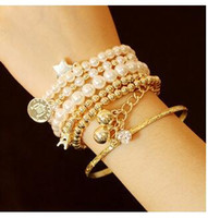 Wholesale Wholesale Ancient Coins - Many elements of the Eiffel Tower pearl bracelet restoring ancient ways Coin covered six pieces accessories multilayer elastic bracelet