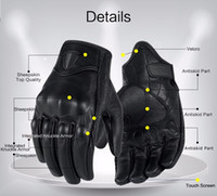Wholesale Real Motorbikes - Motorcycle Gloves Real Genuine Leather All Season Glove Touch Screen Perforate Men Racing Motorbike Motocicleta Guantes Luvas