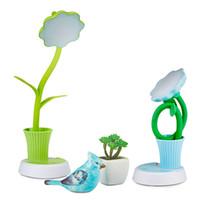 çiçek için renkli lambalar toptan satış-Güneş çiçek kalem tutucu lamba led fener okuma almanak ton öğrenci öğrenme USB şarj yeşil mavi pembe açık mavi dört-renk seçimi