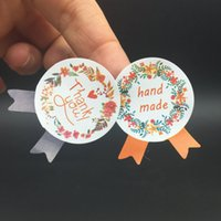Wholesale making seal - 1200pcs lot flower Medal Hand Made and Thank You Garland Seal Sticker Baking Package 4 colours