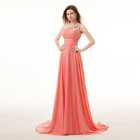 Wholesale Evening Dress One Shoulder Watermelon - Watermelon One Shoulder Chiffon Long Evening Dresses Cheap Elegant Formal Evening Gowns lg0182