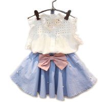 Wholesale Girls Pearl Clothing - Wholesale- 2017 Summer New Girls Clothing Sets Kids Ladies Fashion Hollow Sleeveless Shirt + Bow Pearl Skirt Suit Clothes