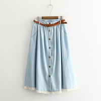 Wholesale Jean Skirt Lace - Summer 2016 Women Cotton Denim Skirt Femme Mori Girl Style Lace Patchwork Single Breasted Pleated Jean Skirt Long Saias Belted