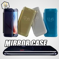 billetera de oro galaxy al por mayor-Para Galaxy S7 edge Plus iphone 6s plus Mirror Chrome Clear View Funda de cuero Flip Case Gold Plata para Samsung S6 edge