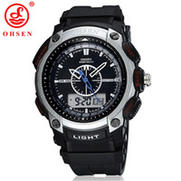 Wholesale Ohsen Digital Lcd - OHSEN Famous Brand LCD Date Sport Digital Watches Relogio Masculino Analog Wristwatches Men Luxury Military Watch Men Wholesale W026