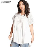 Wholesale Large Women Sexy Tee Shirts - Wholesale- 2017 Summer Casual 6XL 5XL Plus Size Women Sexy lace Tops Big Size floral print white Loose T-shirt V neck Large size Top Tees