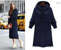 Wholesale Girls Over Coat - young girl pull over hooded winter dress fleece lined long coat 4sizes 2colors brown color MOQ100pcs