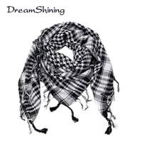 ingrosso arab scarf-All'ingrosso-DreamShining Arab Shemagh Tactical Palestine Sciarpa leggera in poliestere Scialle per uomo Moda Plaid stampato Sciarpe da uomo avvolge
