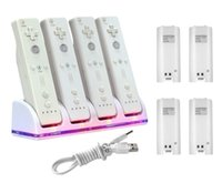 Wholesale Rechargeable Station - 4 Port Quad Charging Station with 4 Rechargeable 2800 mAh Battery Compatible With Nintendo Wii Remote Control, White