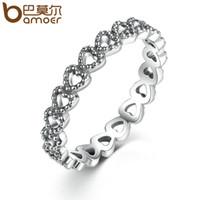 Wholesale Silver Rings For Women Cheap - yizhan BAMOER Romantic Silver Plated Heart to Heart Ring AAA Zirconia Cheap Rings for Women Wedding Jewelry Dropship PA7218