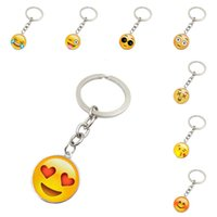 Wholesale European Key Ring Chain - Emoji keychains smile face time gemstone key chain metal glass pendant European fashion jewelry pendant key rings cute funny keychains