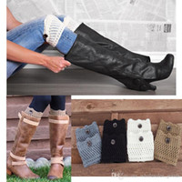 Wholesale Womens Wool Boot Socks - Socks Leggings For Women Women Ladies Winter Leg Warmers Button Crochet Knit Boot Socks Toppers Cuffs Designer womens leggings Leg Socks
