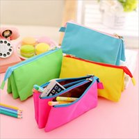 Wholesale Large Fabric Pencil Case - canvas fabric Pencils case 3 layers 3 pouches Student Stationery boy girl Storage Pencil Bag large capacity kids zipper pouch