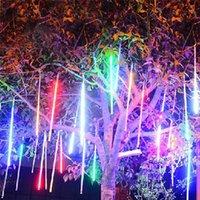 Wholesale Led Snowfall Light Tubes - Wholesale-30cm 8 Tube LED Christmas Lights Outdoor Meteor Shower Rain Tubes Wedding Party Snowfall Tree Garden Xmas String Light EU
