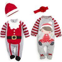 tek parça kıyafetler toptan satış-Bebek Noel Giysileri Tek Parça Romper Santa Bebek Erkek Kız Noel Romper Şapka Kafa Kıyafetleri ile Sonbahar Kış Bebek Giyim 0 ~ 24 M