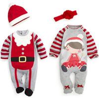 головные уборы оптовых-Детские рождественские одежда One Piece ползунки Санта мальчиков девочек Рождество ползунки с шляпа повязка наряды Осень Зима Детская одежда 0~24 м