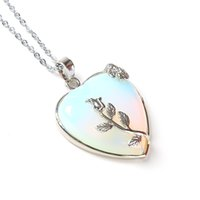 Wholesale Wired Pearls Flower - Wholesale- Natural Heart Stone Pendant Chain Necklace Opal & Amethyst Love Necklace Silver Leaf Flower Wire Wrapped Quartz Crystal Pendant