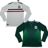 Wholesale Long Sleeve White Jersey Football - Best Mexico home away 17 18 long sleeve soccer jersey thai quality 2017 2018 Mexico green white shirt CHICHARITO O.PERALTA football Jersey