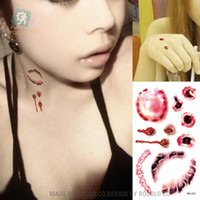 Wholesale Temporary Tattoos For Scars - Wholesale-Halloween waterproof temporary tattoos for lady women 3d reality vampire blood scar design tattoo sticker Free Shipping RC2213