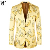 Wholesale Men S Euro Jackets - Men Jacket Euro Size 44-58 Casual Banana pattern fashion Yellow Men Suit Exclusive!! TOTURN Blazer High Quality Jacket Men Blazer