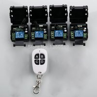 Wholesale Receiver Learning Code - Wholesale- Learning code DC 12V 10A 1CH 315MHz 433MHZ Wireless RF Remote Control Switch teleswitch 1* transmitter and 4 *receiver
