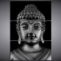 Wholesale Painted Statue - 3 Pcs Set Framed Printed buddha statue Painting Canvas Print room decor print poster picture canvas Free shipping NY-6283
